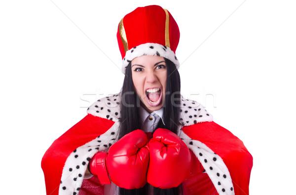 Empresária rainha luvas de boxe trabalhar empresário caixa Foto stock © Elnur