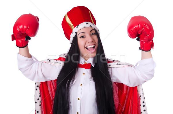 Kadın kraliçe boks eldivenleri çalışmak işadamı kutu Stok fotoğraf © Elnur