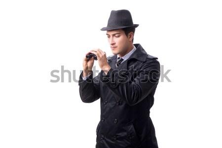 Stok fotoğraf: Işadamı · tabanca · yalıtılmış · beyaz · el · adam
