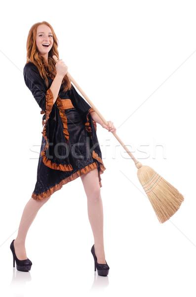Bom bruxa vassoura branco madeira moda Foto stock © Elnur