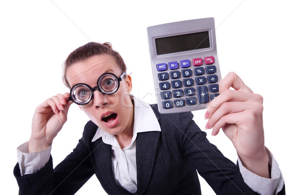 Nerd female accountant with calculator Stock photo © Elnur