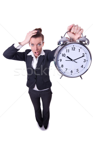 Funny woman with clock on white Stock photo © Elnur