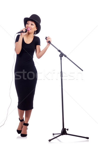 Afro-american female singer isolated on white Stock photo © Elnur
