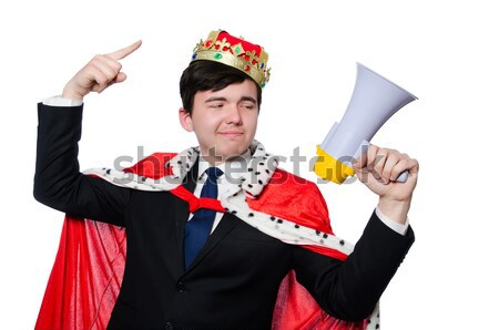 Király üzletember hangfal izolált fehér férfi Stock fotó © Elnur
