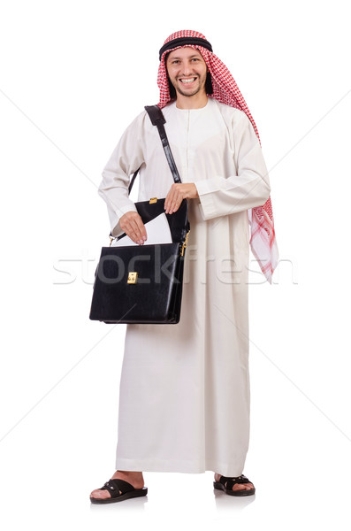 Arab man with briefcase isolated on white Stock photo © Elnur