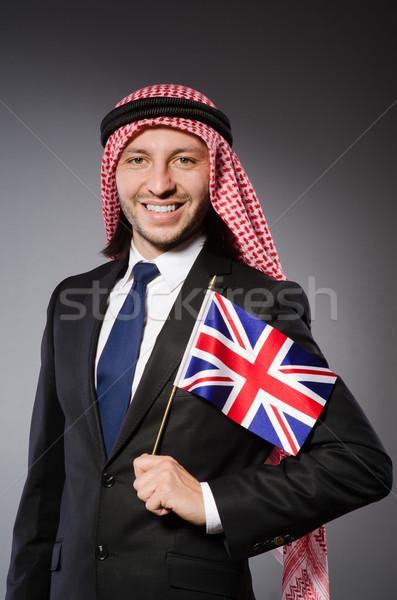 Arabes homme Royaume-Uni pavillon affaires fond Photo stock © Elnur