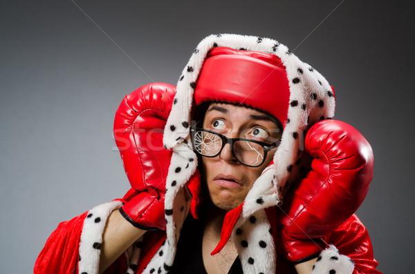 Funny bokser czerwony rękawice ciemne strony Zdjęcia stock © Elnur