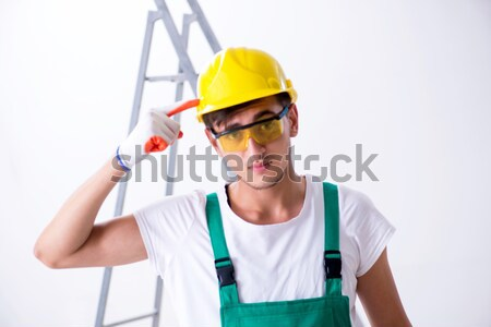 Werknemer bijl geïsoleerd witte bouw naakt Stockfoto © Elnur