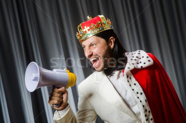 Roi haut-parleur drôle travaux fond exécutif Photo stock © Elnur