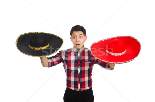 Komik Meksika geniş kenarlı şapka yüz mutlu Retro Stok fotoğraf © Elnur