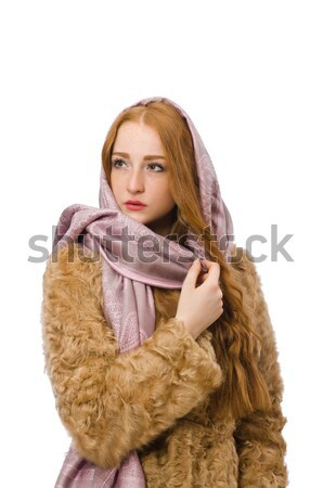 Kız kürk yalıtılmış beyaz kadın Stok fotoğraf © Elnur