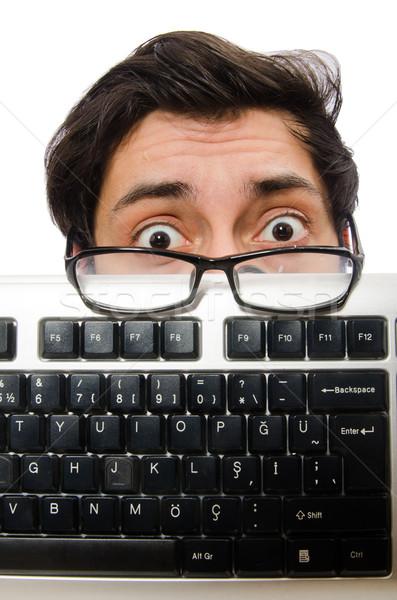 Jonge werknemer toetsenbord geïsoleerd witte computer Stockfoto © Elnur