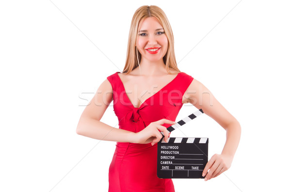 Woman with clapperboard isolated on white Stock photo © Elnur