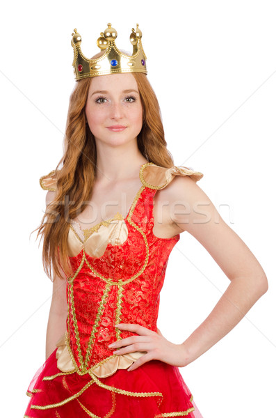 Queen in red dress isolated on white Stock photo © Elnur