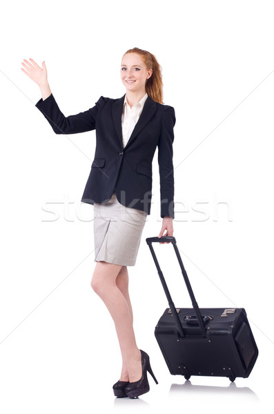 Travelling businesswoman isolated on the white Stock photo © Elnur