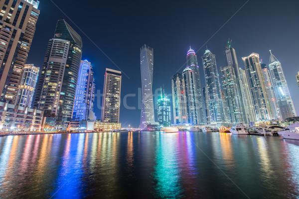 Dubai marina wieżowce noc niebo wody Zdjęcia stock © Elnur