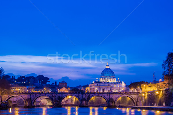 Saint Peter cathedral over Tiber river in Rome Italy Stock photo © Elnur