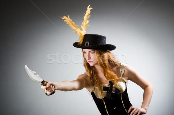 Femme pirate forte couteau main mode Photo stock © Elnur