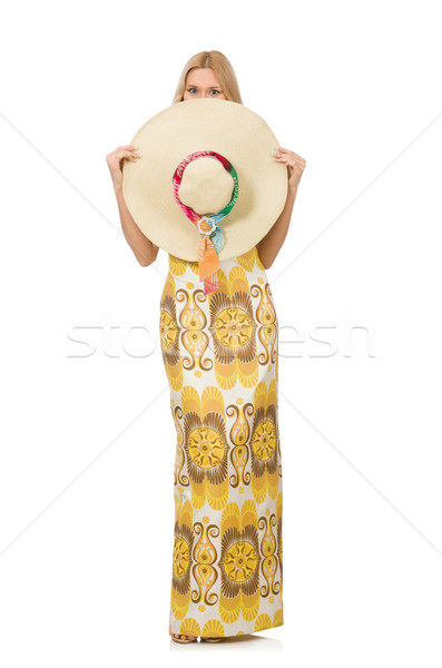 Young woman wearing hat and long summer dress isolated on white Stock photo © Elnur