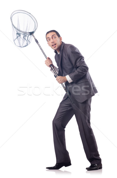 Funny businessman with catching net on white Stock photo © Elnur