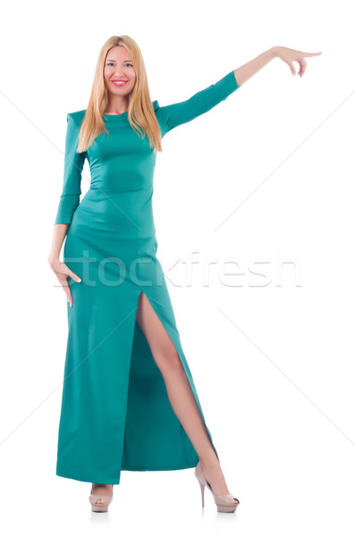 Woman in blue long dress isolated on white Stock photo © Elnur