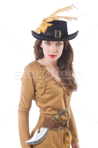 Stockfoto: Vrouw · piraat · mes · witte · partij · portret