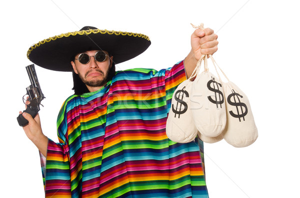 Mexican holding gun and money bag isolated on white Stock photo © Elnur