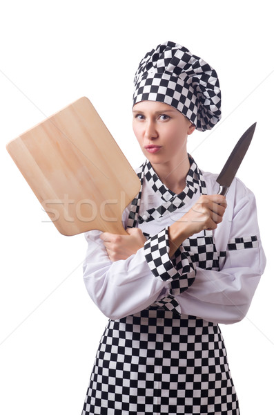 Female chef holding chopping board and knife isolated on white Stock photo © Elnur