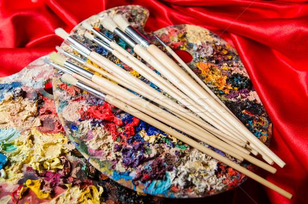 Arte paleta escolas pintar fundo educação Foto stock © Elnur