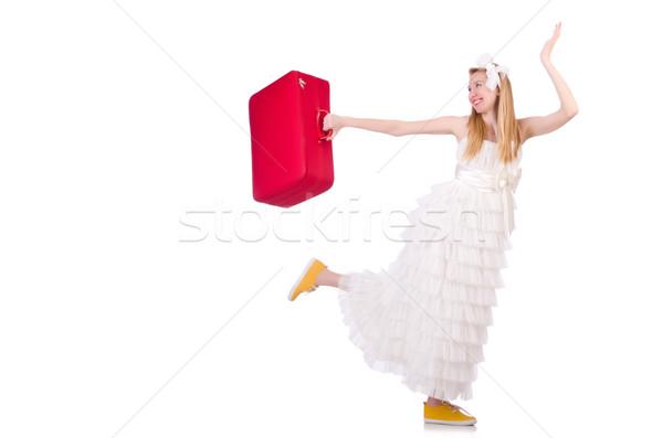 женщину подвенечное платье чемодан свадьба счастливым красоту Сток-фото © Elnur