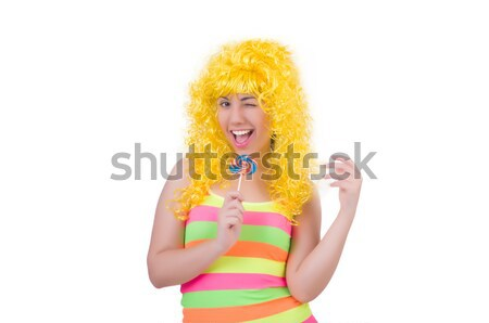 Curly woman holding lolly pop isolated on white Stock photo © Elnur