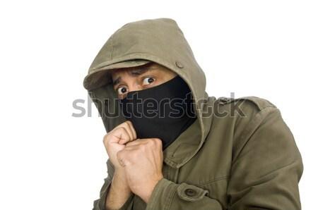 Foto stock: Hombre · criminal · blanco · mano · máscara · masculina
