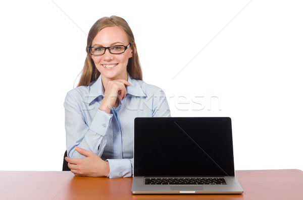 Stock photo: Office employee with laptop isolated on white