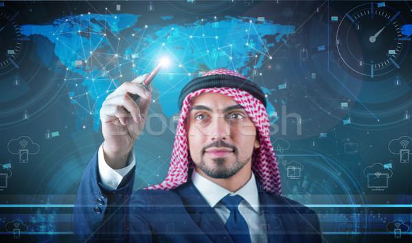 Foto stock: árabes · hombre · red · social · negocios · tecnología · empresario