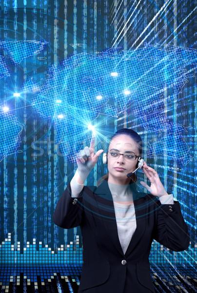 Datos minería mujer de negocios ordenador red web Foto stock © Elnur