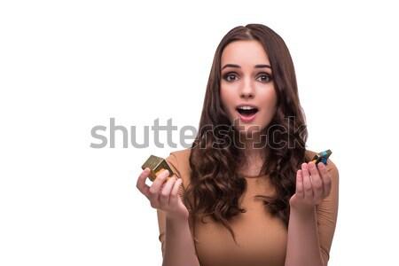 Młoda kobieta wniosek odizolowany biały ręce ślub Zdjęcia stock © Elnur