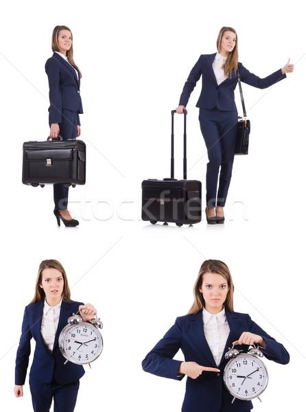 Viajar férias bagagem branco mulher tempo Foto stock © Elnur