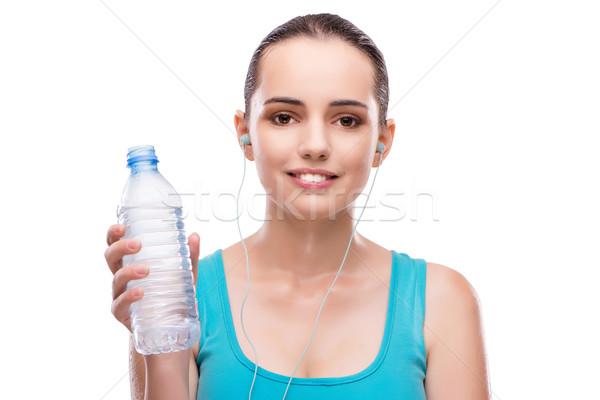 Femme sport bouteille eau douce eau musique Photo stock © Elnur