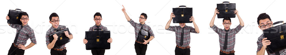 Jóvenes empleado maletín aislado blanco oficina Foto stock © Elnur