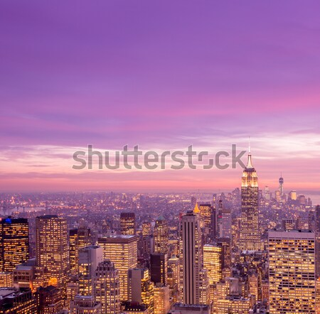 Photo stock: Nuit · vue · nouvelle · Manhattan · coucher · du · soleil · affaires