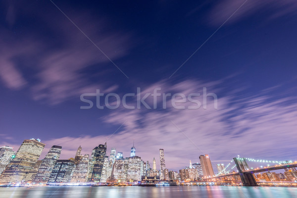 Stock photo: Night view of Manhattan and Brooklyn bridge