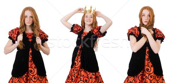 Vicces nő királynő visel korona fehér Stock fotó © Elnur