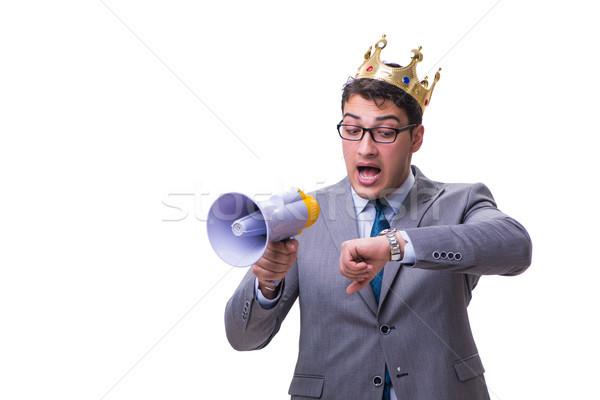 Rei empresário megafone isolado branco homem Foto stock © Elnur