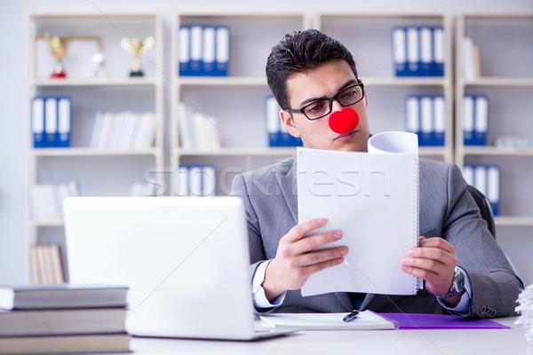 Clown businessman in the office Stock photo © Elnur