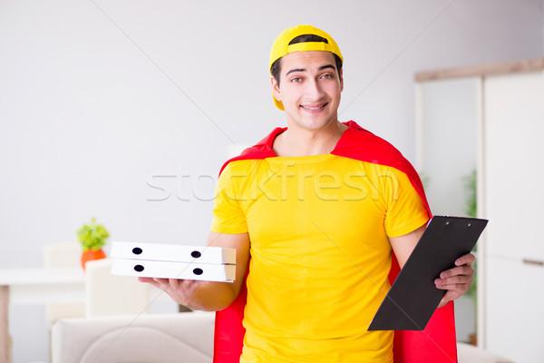 Pizza levering vent Rood dekken Stockfoto © Elnur