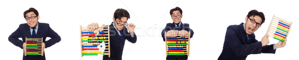 Angry accountant with abacus isolated on white Stock photo © Elnur