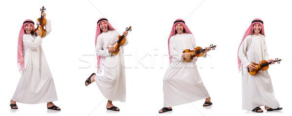 Stock photo: Arab man playing violing on white