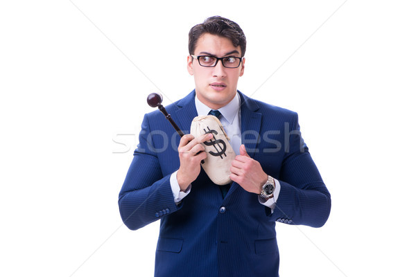 Lawyer with a gavel and a moneybag money bad isolated on white Stock photo © Elnur