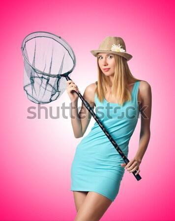 Alto modelo gigante gafas de sol blanco mujer Foto stock © Elnur