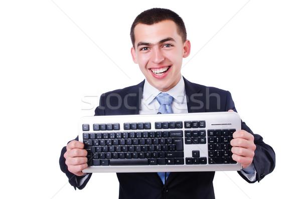 Stock photo: Computer geek nerd in funny concept